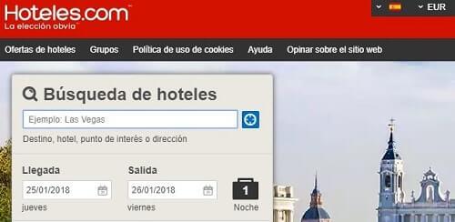 buscar página de hoteles