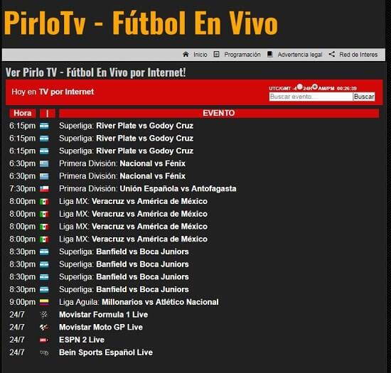 PirloTV ver partidos online gratis
