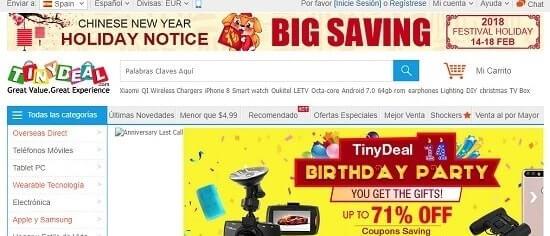 TinyDeal paginas chinas para comprar por internet