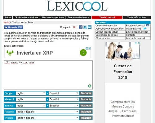 lexicool compara traductores