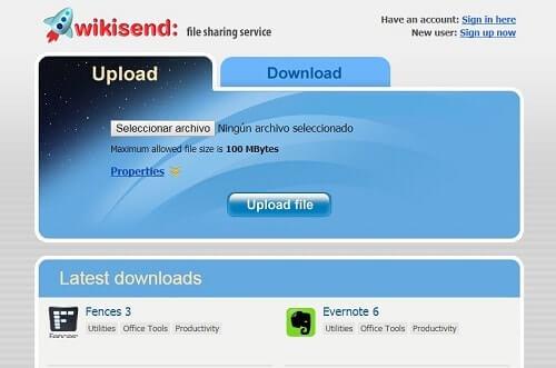 wikisend subir archivos gratis