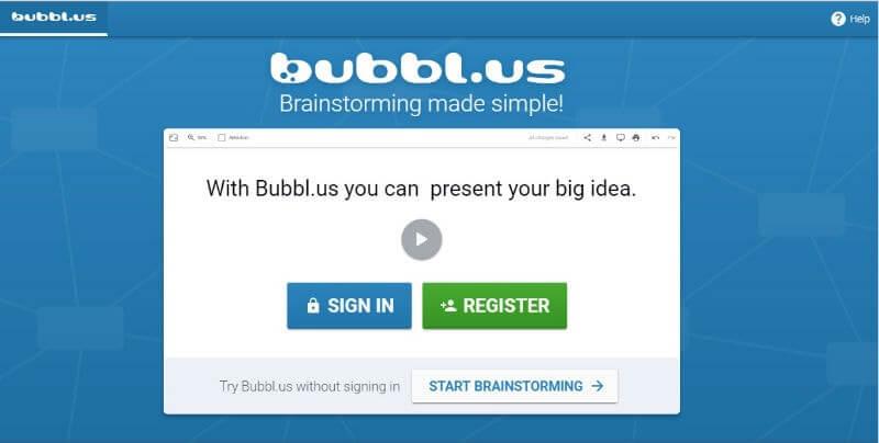 Bubbl hacer mapas mentales gratis online