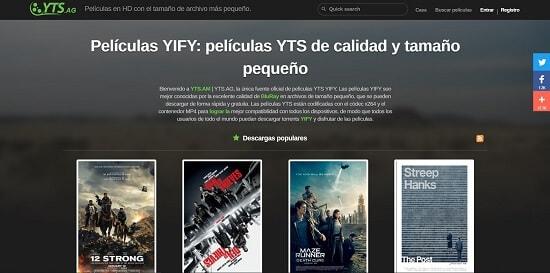 YTS.ag descargar peliculas con utorrent