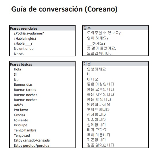 guia de conversación en coreano