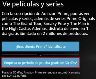 Amazon Prime prueba