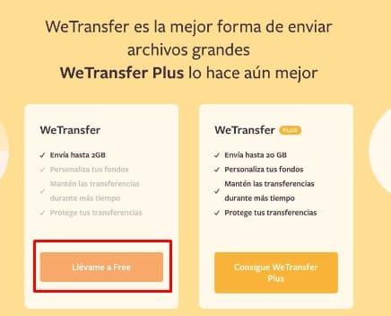 WeTransfer transferir archivos